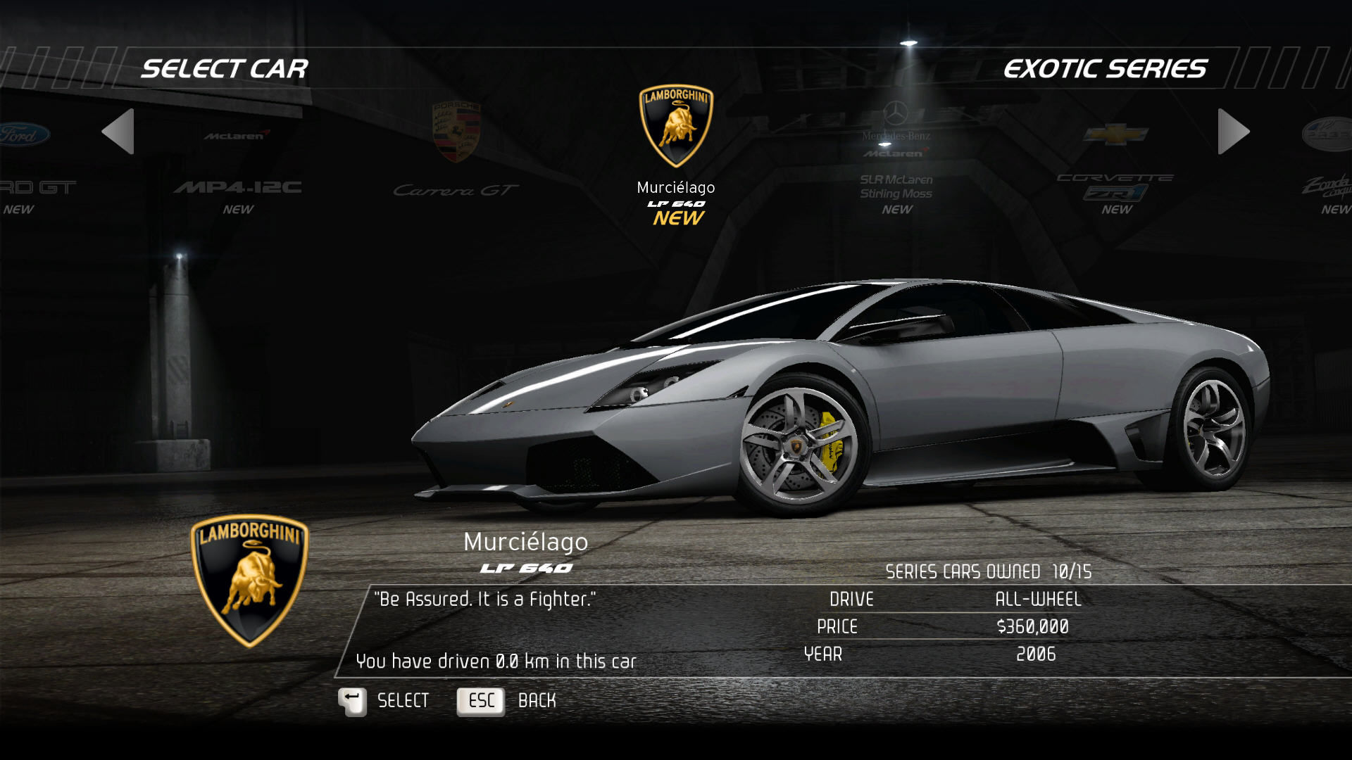 Need for Speed: Hot Pursuit Windows Vehicle selection screen