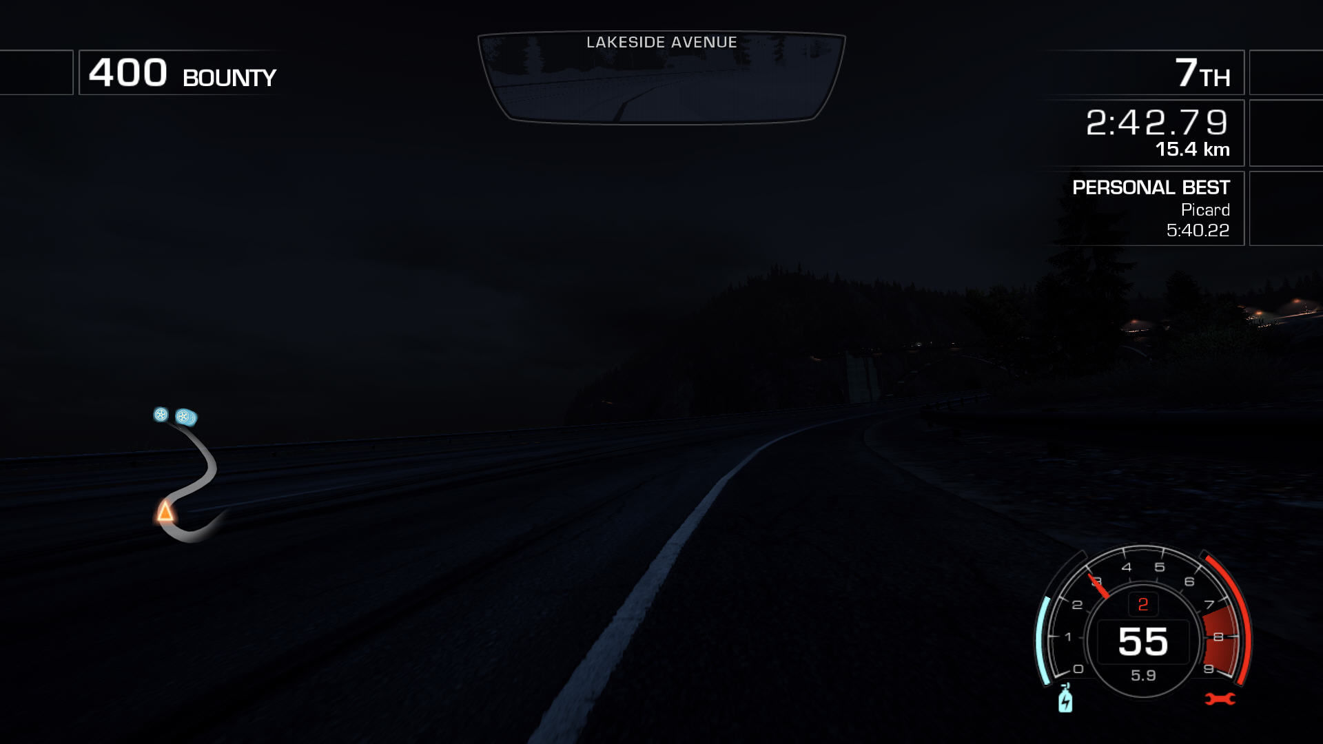 Need for Speed: Hot Pursuit Windows Driving without lights is a bad idea because you can't see much