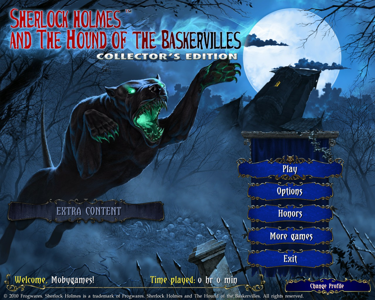 Sherlock Holmes and The Hound of the Baskervilles (Collector's Edition) Windows Main menu