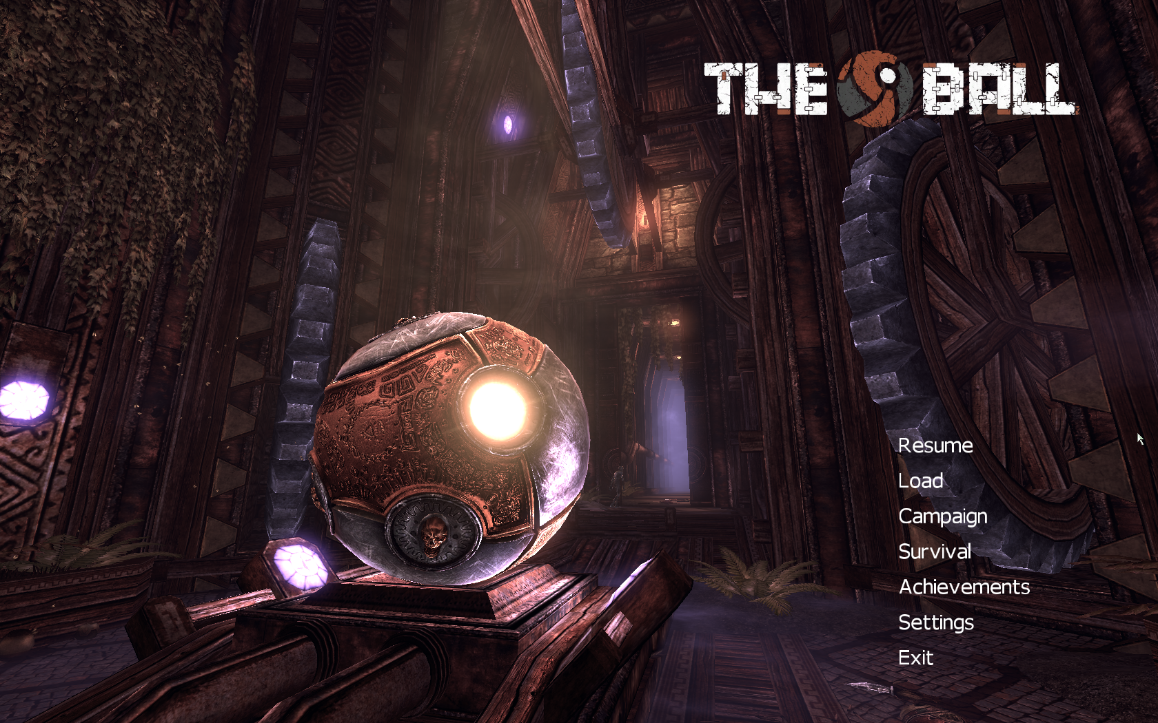 The Ball Windows Menu Screen