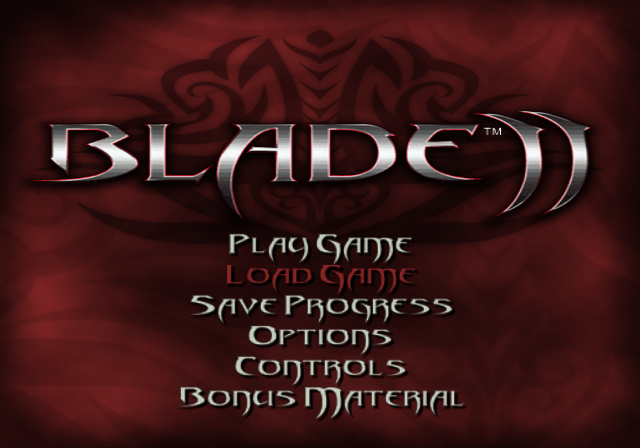 Blade II PlayStation 2 Title screen with main menu.