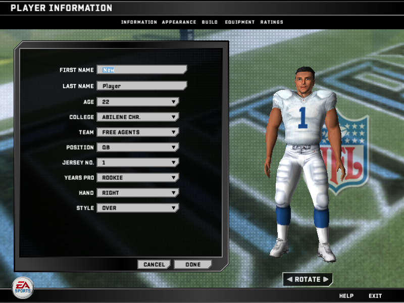 Madden NFL 08 Windows Create-A-Player