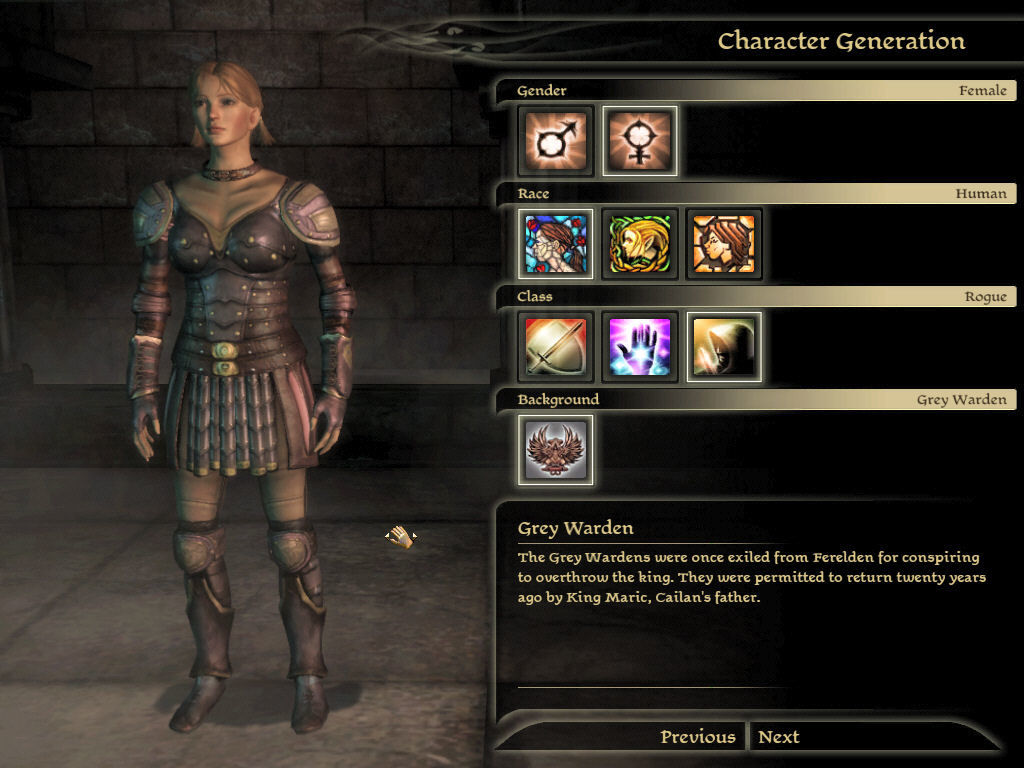 Dragon Age: Origins - Witch Hunt Windows Creating a new character - Start screen, Rogue
