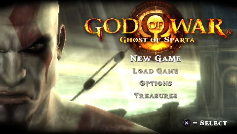 God of War: Ghost of Sparta PSP Main menu.