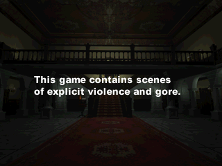 Resident Evil: Director's Cut PlayStation Pre-game warning. Though, given the reputation of zombie related media, one wonders if it's really necessary.