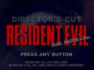 Resident Evil: Director's Cut PlayStation The slightly different title screen.