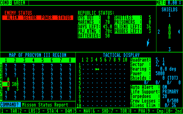 Star Fleet I: The War Begins! Atari ST Enemy status