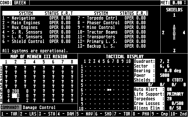 Star Fleet I: The War Begins! Atari ST The main game screen; system status (Monochrome)