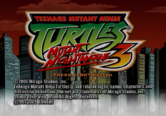 Teenage Mutant Ninja Turtles 3: Mutant Nightmare PlayStation 2 Title screen.