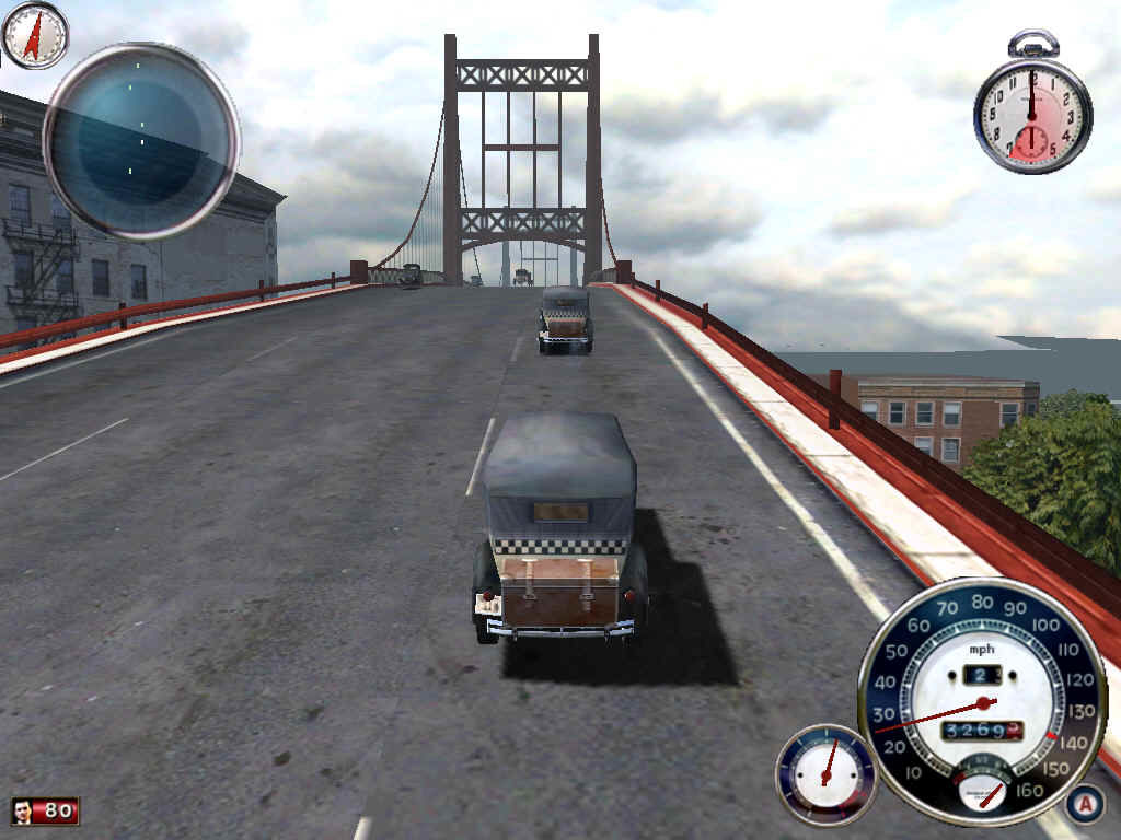 Mafia Windows In the beginning of the game, you are a regular taxi driver. Due to low powered cars in the 1930's, going up hills can be a chore.  Just look at my speed!