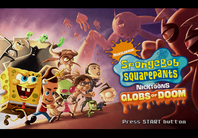 SpongeBob SquarePants Featuring Nicktoons: Globs of Doom PlayStation 2 Title screen.