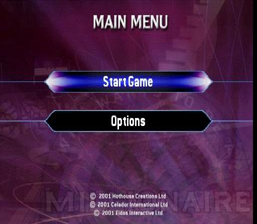 Who Wants to Be a Millionaire: 2nd Edition PlayStation Main menu.