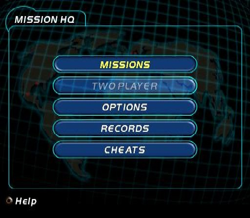 007: Racing PlayStation Main menu.