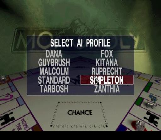 Monopoly PlayStation Choosing an A.I opponant.