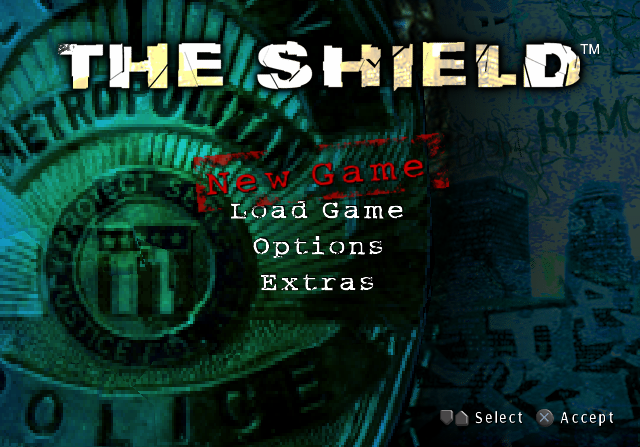 The Shield: The Game PlayStation 2 Title screen / Main menu.