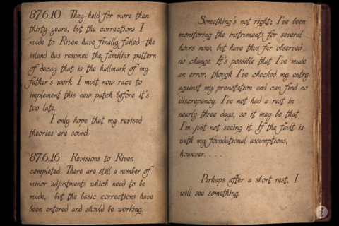 Riven: The Sequel to Myst iPhone Atrus's journal.