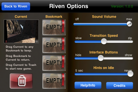 Riven: The Sequel to Myst iPhone Riven's options.