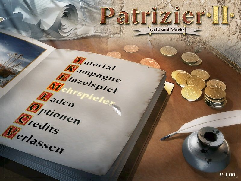 Patrician II: Quest for Power Windows Menu screen.