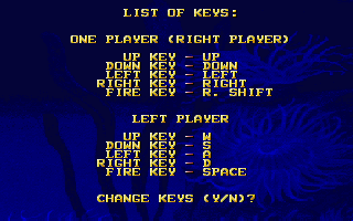 Bluppo DOS The Controls option from the main menu displays the action keys and offers the option to change them