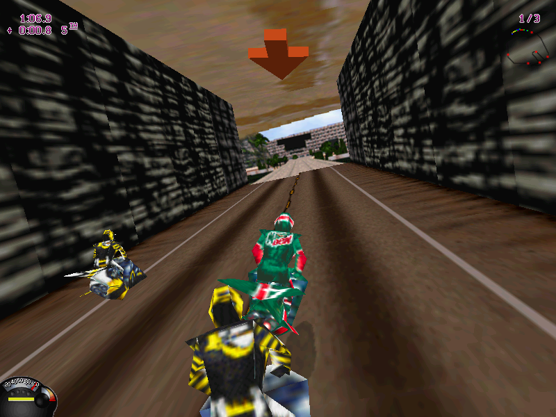 Jet Moto Windows Speeding through tunnel.