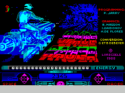 Space Racer ZX Spectrum This screen displays as the game loads.