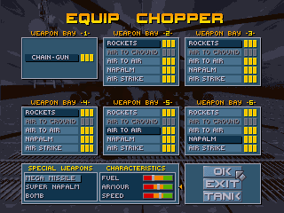 Seek and Destroy DOS Equip your chopper - select what weapons go into each bay. Note the Fuel/Armor/Speed sliders.