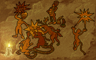 Inherit the Earth: Quest for the Orb Amiga CD32 Cave paintings illustrate the story.