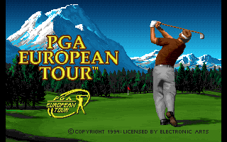 PGA European Tour Amiga CD32 Title screen.