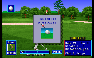 PGA European Tour Amiga CD32 A window pops up to inform me on what kind of ground the ball came to rest.