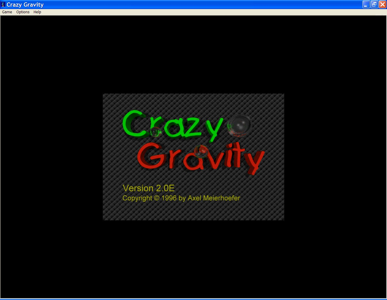 Crazy Gravity Windows The shareware version of the game loads with this screen in the background behind a couple of shareware ordering panes