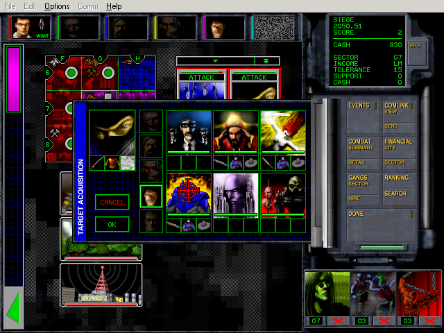 Chaos Overlords Windows Attacking a sector with enemy head quarter, note all 6 enemy gang slots are occupied.