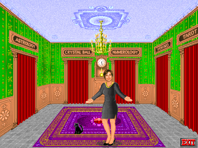 Rosemary West's House of Fortunes DOS Rosemary shows you the variety of predictions offered.