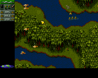 Cannon Fodder Amiga CD32 Wading through the water makes your soldiers slow down.