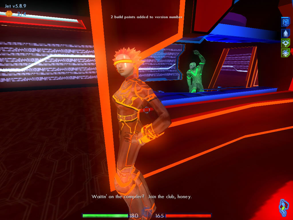 TRON 2.0 Windows The game is filled with jokes and funny locations such as this nightclub for bored scripts.