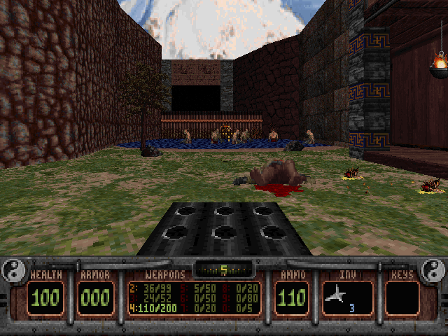 Shadow Warrior DOS Operating at a huge stationary gun + a bunch if enemies within range = fun