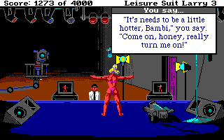 Leisure Suit Larry III: Passionate Patti in Pursuit of the Pulsating Pectorals Amiga Larry offers some advice to improve Bambi's video
