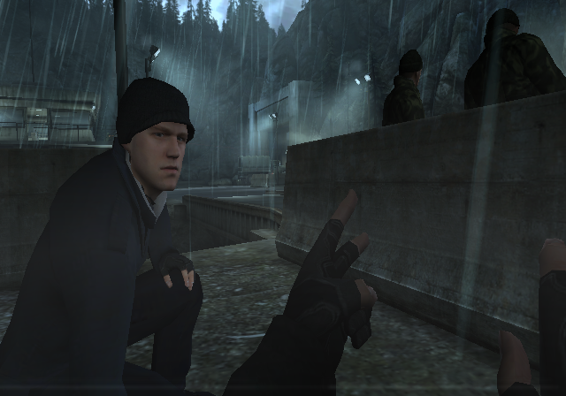 GoldenEye 007 Wii Preparing to eliminate two enemies with the new take down ability