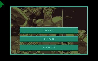 X-COM: UFO Defense Amiga CD32 Language selection with a typo for the German language.