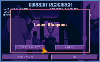 X-COM: UFO Defense Amiga CD32 Research is an important part of the game, I'll start out with laser weapons.
