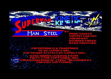 Superman: The Man of Steel Amstrad CPC Copyright Information