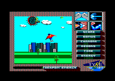 Superman: The Man of Steel Amstrad CPC Para-demons appear from hole in the sky