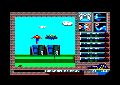 Superman: The Man of Steel Amstrad CPC Confronting with para-demon in jet
