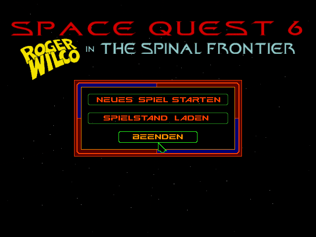 Space Quest 6: Roger Wilco in the Spinal Frontier DOS Title and main menu