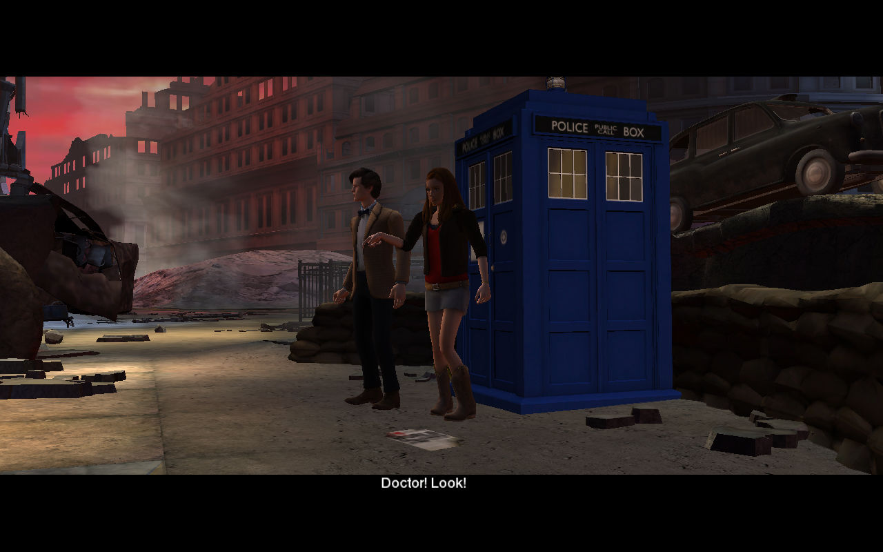 Doctor Who: City of the Daleks Windows The Doctor and Amy arrive in a ruined London.