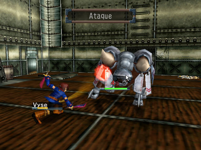 Skies of Arcadia Dreamcast Boss battle. Vyse attacks!