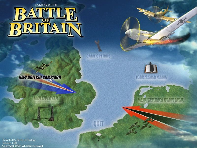 Battle of Britain Windows Opening menu screen
