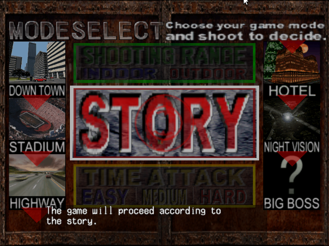 Silent Scope Dreamcast Select the game mode