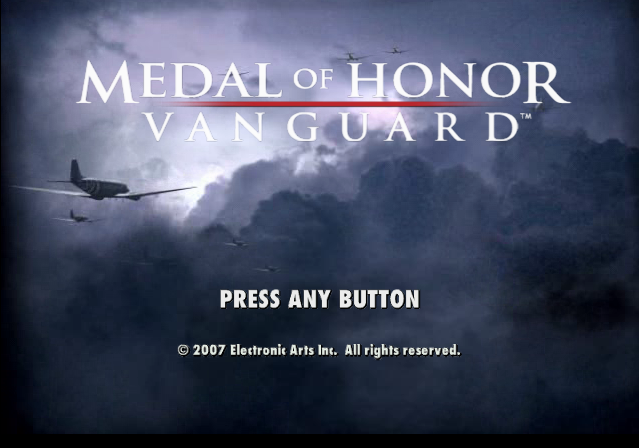 Medal of Honor: Vanguard PlayStation 2 Title screen.
