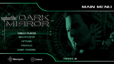 Syphon Filter: Dark Mirror PSP Title screen