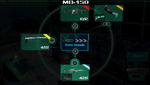 Syphon Filter: Dark Mirror PSP Weapon select menu